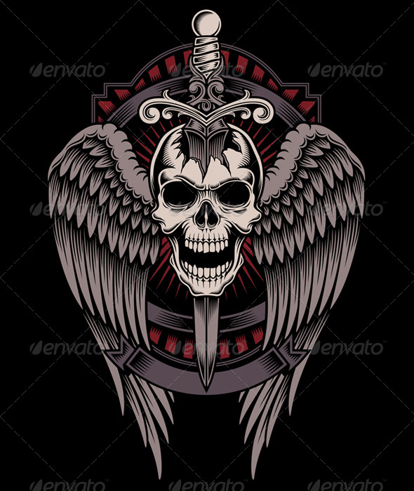 Winged Skull With Sword Stuck By Vectorfreak Graphicriver