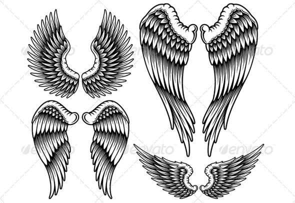 Set of Wings - Tattoos Vectors