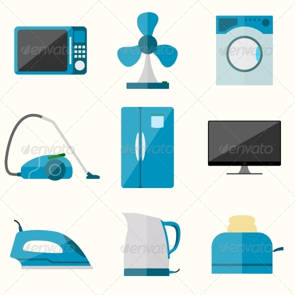 Set of Household Appliances Set - Web Elements Vectors