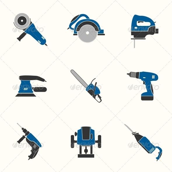 Electric Tool Flat Icons Set - Web Elements Vectors