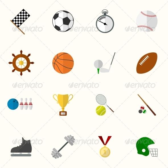 Set of Flat Sport Icons - Web Elements Vectors