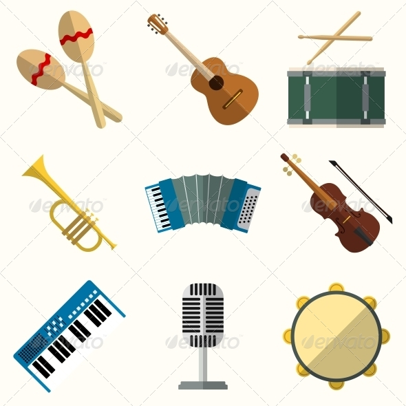 Icons of Musical Equipment - Web Elements Vectors