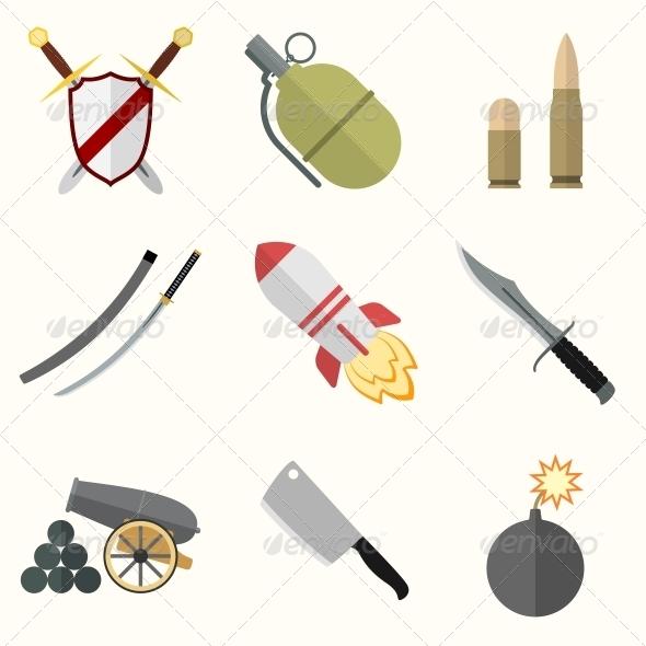 Weapon Icon Set - Web Elements Vectors