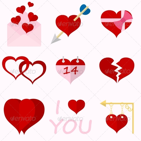 Set Icons of Valentine's Day Red Hearts - Web Elements Vectors