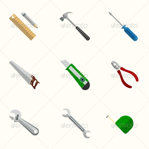 Tools Flat Icons Set - Web Elements Vectors