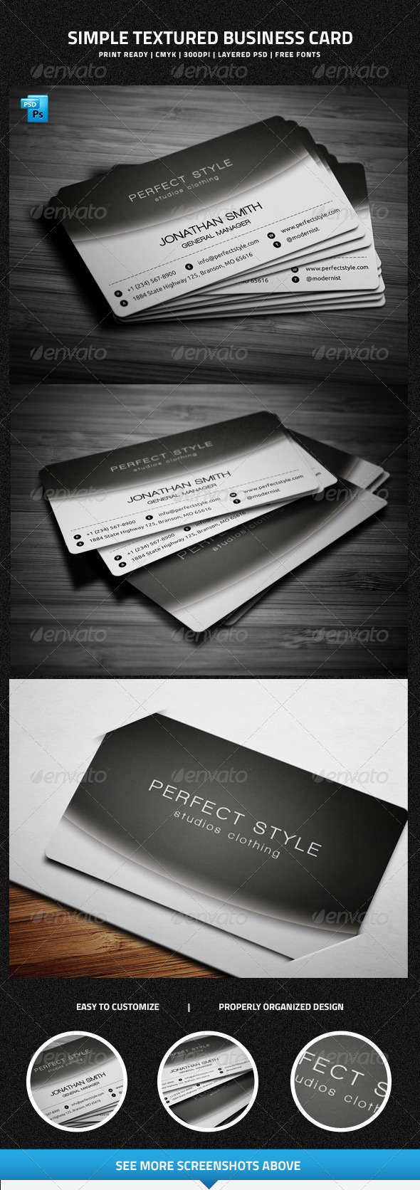 Simple Textured Business Card - 24 - Creative Business Cards