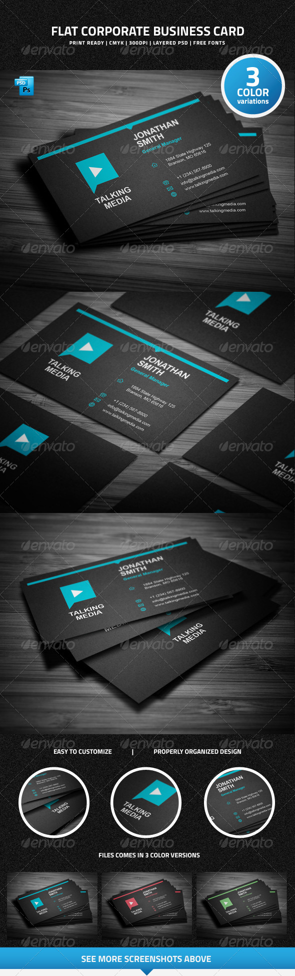 Flat Corporate Business Card - 27 - Corporate Business Cards