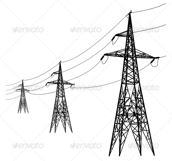 Silhouette of High Voltage Power Lines - Communications Technology