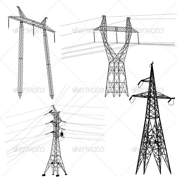 High Voltage Power Lines Silhouette Set - Communications Technology