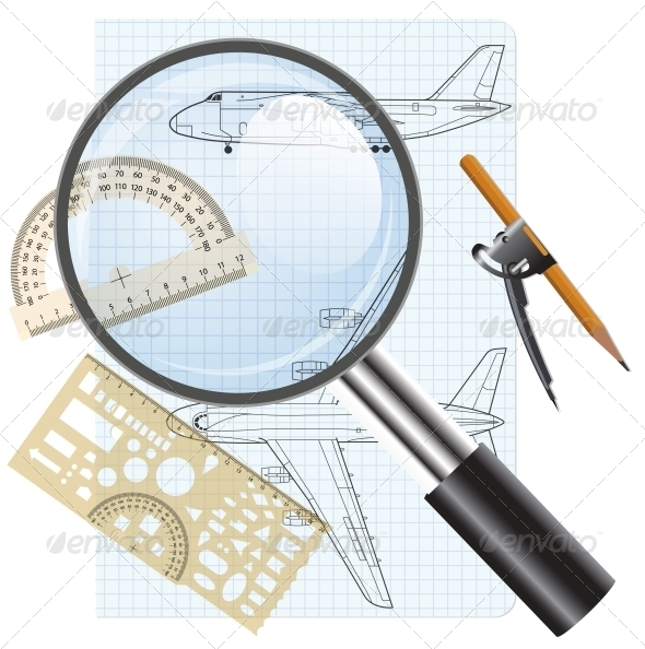 Magnifying Glass Icon with Drawings of Aircraft - Web Elements Vectors