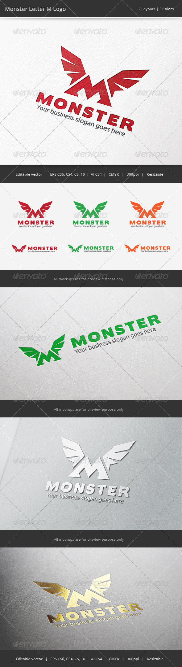Monster M Letter Logo - Vector Abstract