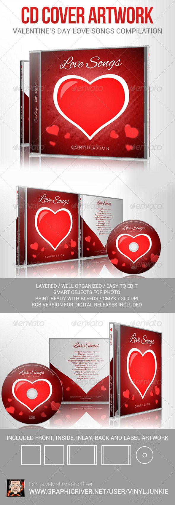 Love Songs for Valentine's Day CD Cover Artwork - CD & DVD Artwork Print Templates
