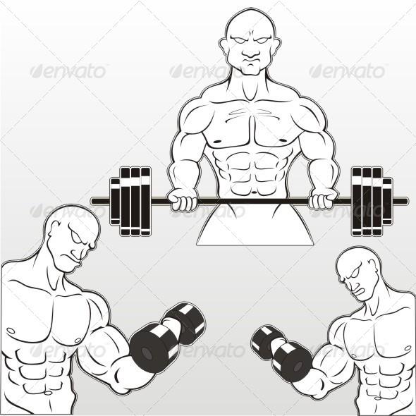 Bodybuilding Stencils - Vectors