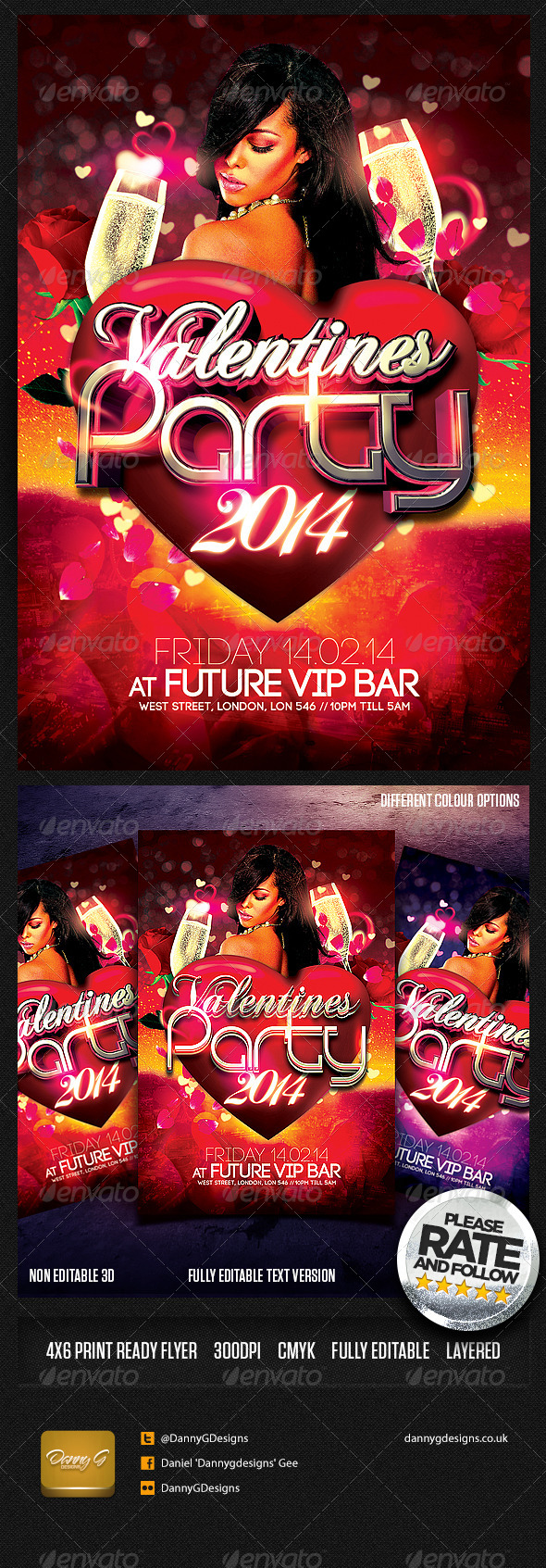 Valentines Party 2014 Flyer Template - Clubs & Parties Events