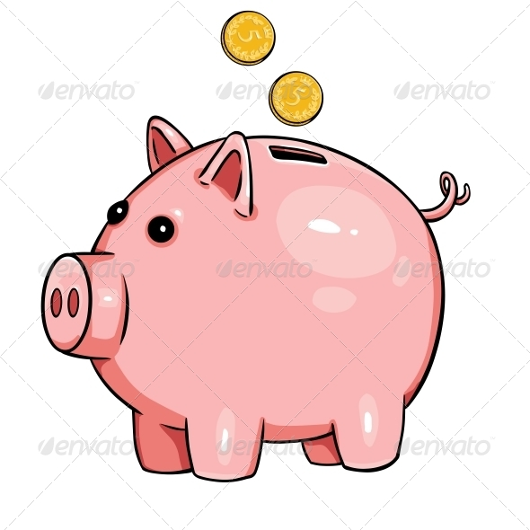 Cartoon Piggy Bank - Concepts Business