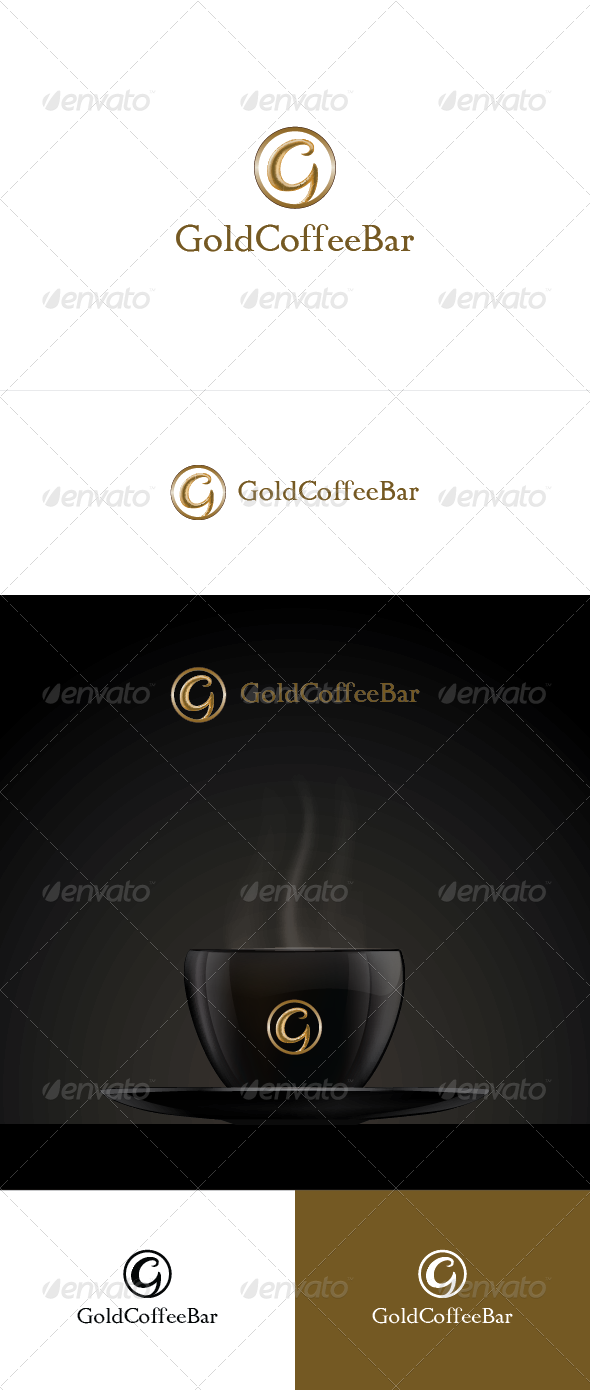 Gold Coffee Bar Logo Template - Letters Logo Templates