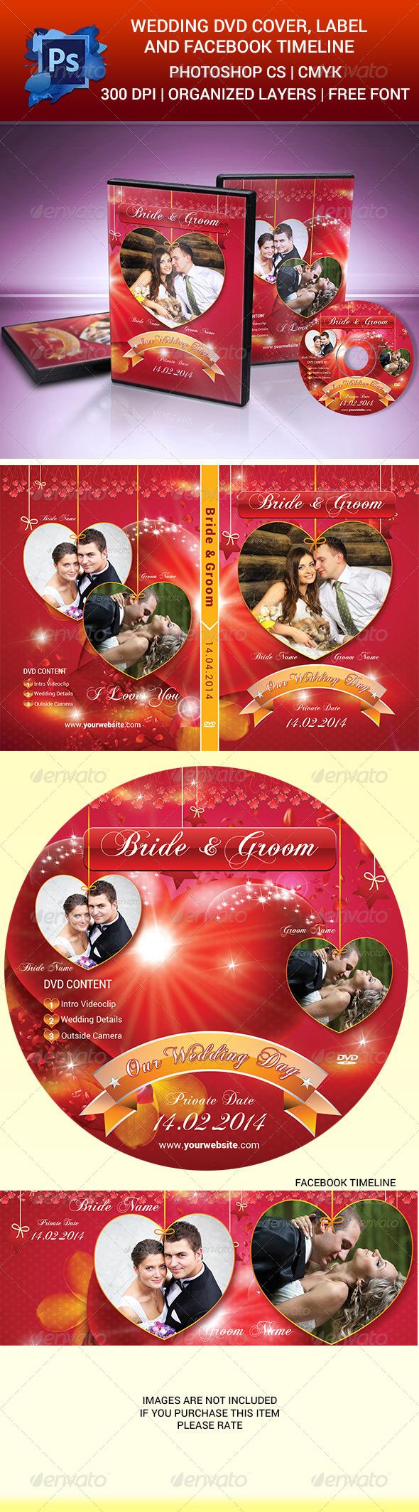 Wedding DVD Cover, Label & Facebook Timeline - CD & DVD Artwork Print Templates