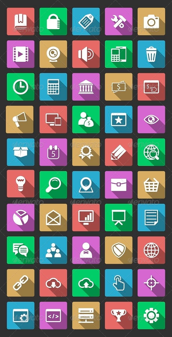 50 SEO Icons With Long Shadow - Web Icons