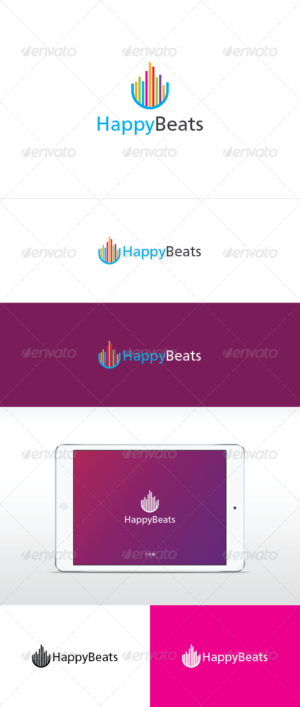 Happy Beat Logo Template - Vector Abstract