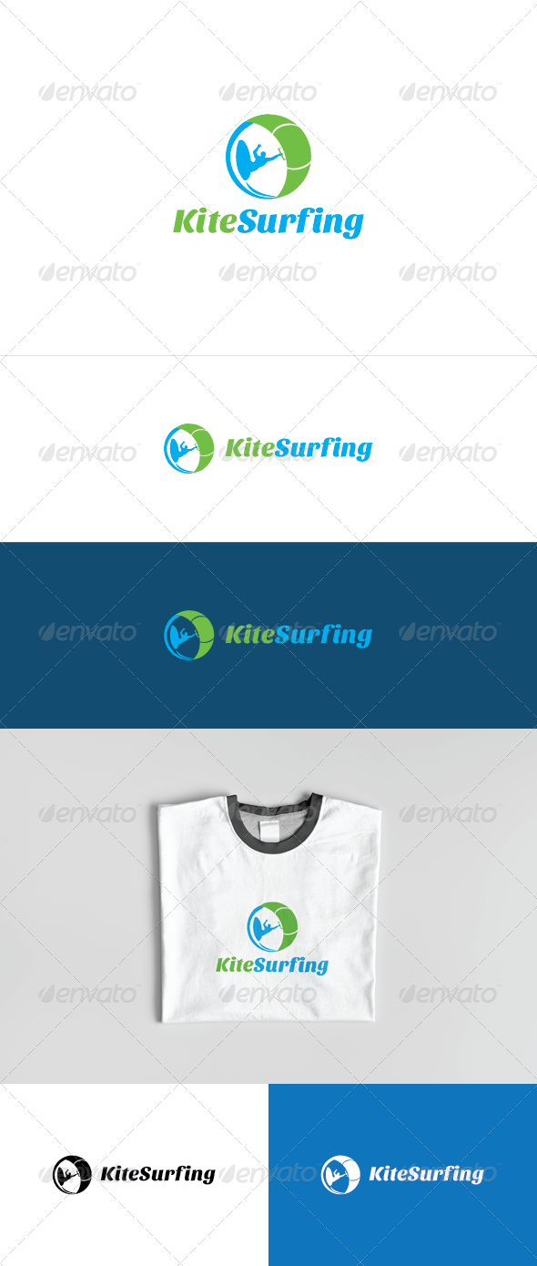 Kite Surfing Logo Template - Humans Logo Templates