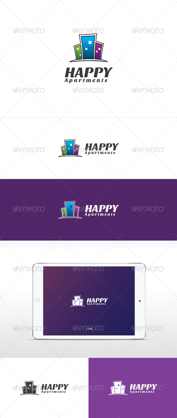 Happy Apartments Logo Template - Buildings Logo Templates