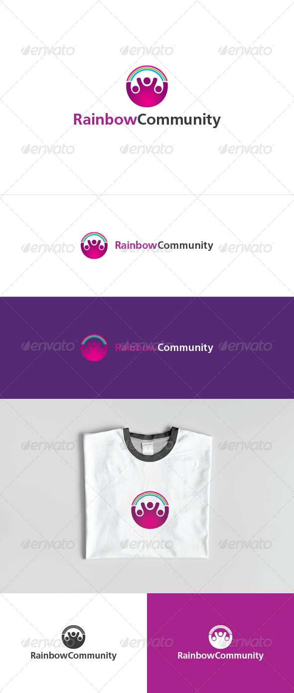Rainbow Community Logo Template - Humans Logo Templates