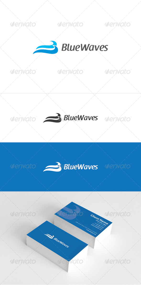 Blue Waves Logo Template - Nature Logo Templates