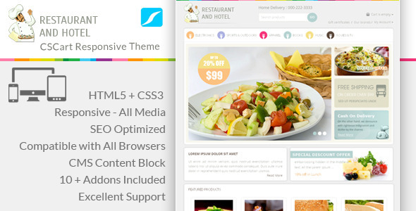 Restaurant - Responsive CS-Cart Theme - CS-Cart eCommerce