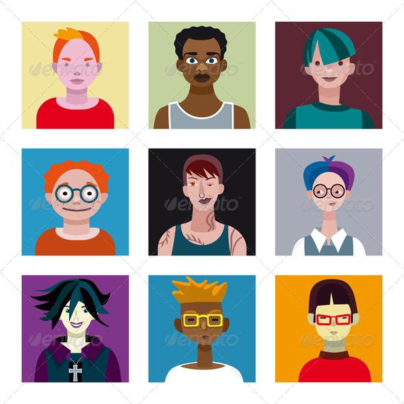 Teenage Boys Avatar Set - People Characters