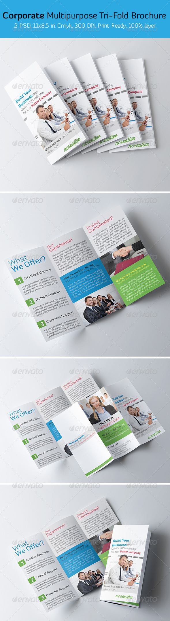 Corporate Multipurpose Tri-fold Brochure  - Corporate Brochures