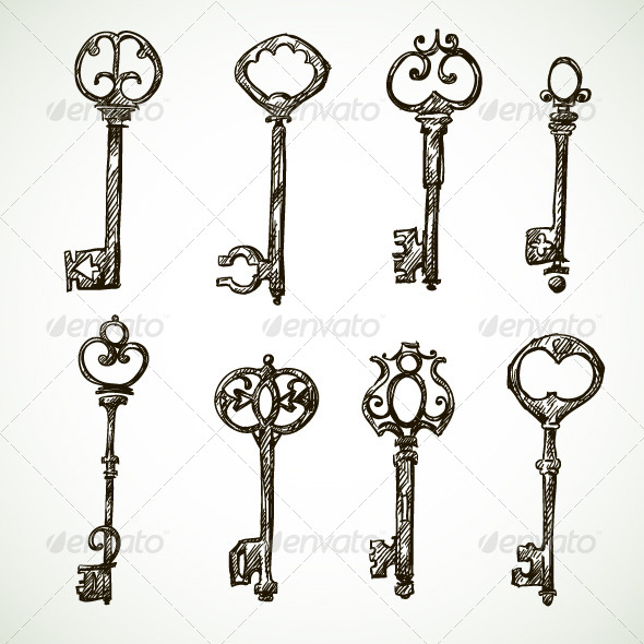 Set of Vintage Key Drawings - Man-made Objects Objects