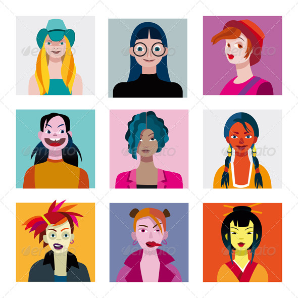 Teenage Girls Avatar Set - Characters Vectors
