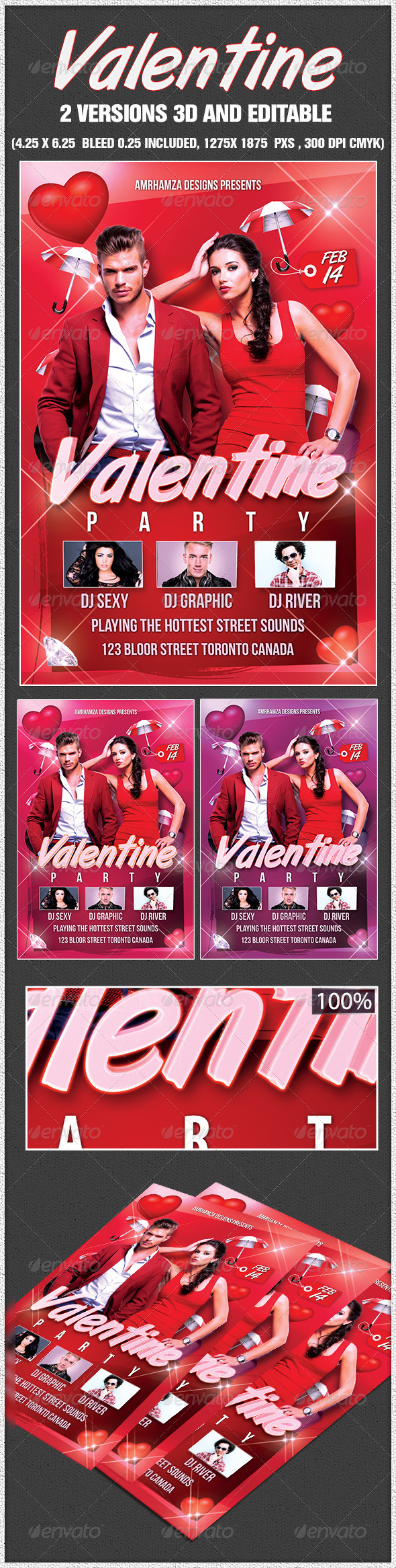 Valentine Flyer Template - Clubs & Parties Events