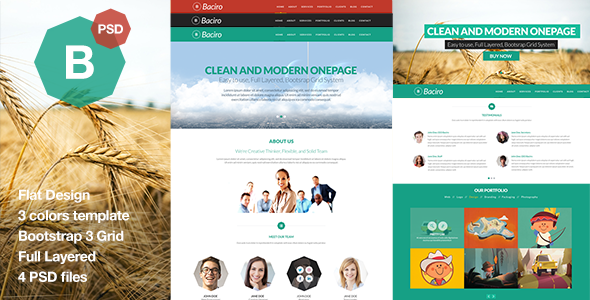 Baciro – Creative One Page PSD Template