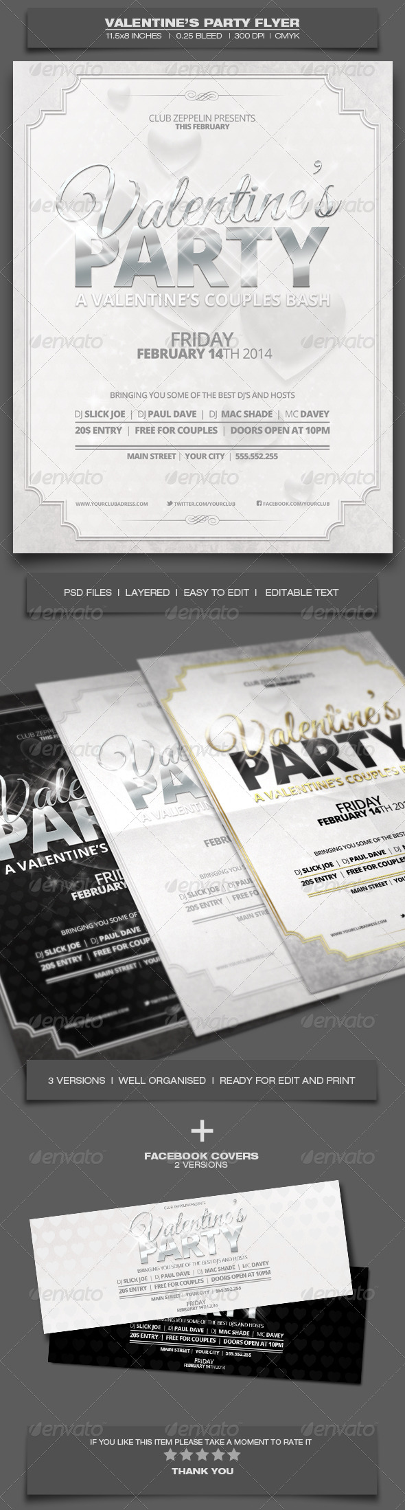 Valentine's Day Party - Event Flyer Template 4 - Holidays Events
