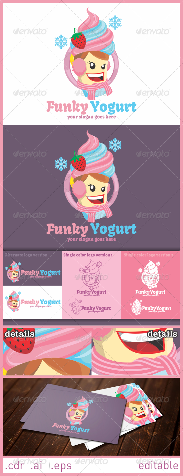 Funky Yogurt Logo - Food Logo Templates