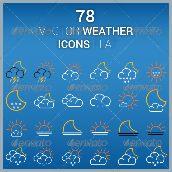 Vector Icons Weather Flat - Web Icons