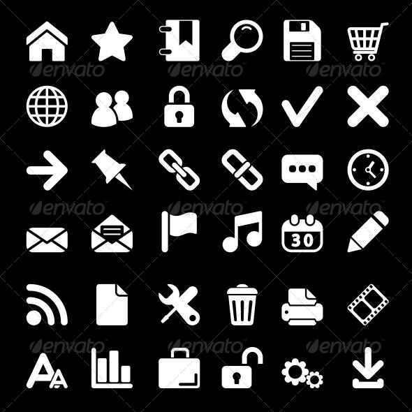 White Web Icons Set - Web Icons