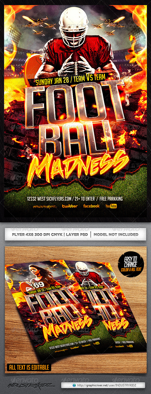 Football Madness Flyer Template - Sports Events