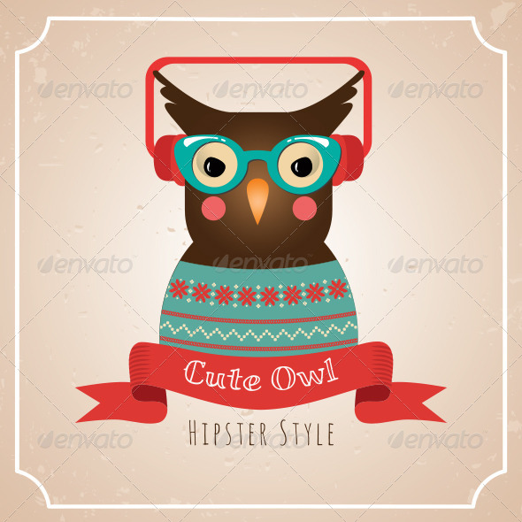 Illustration of Hipster Owl - Illustrations Graphics