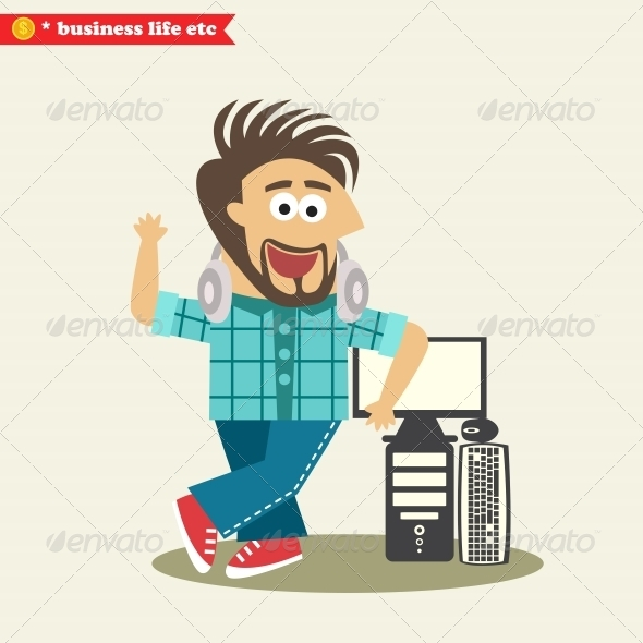 Software Engineer Wearing Headphones and His Computer - People Characters