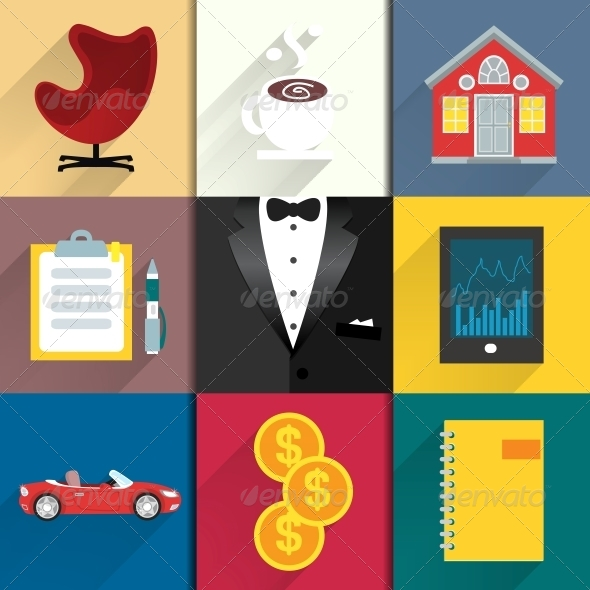 Icons Set for Luxery Life with Tuxedo - Web Elements Vectors