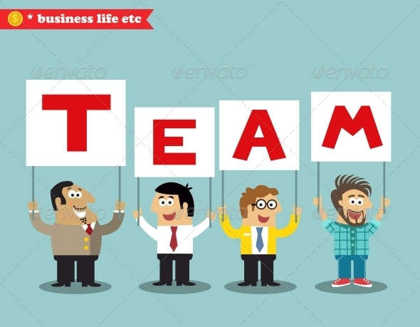 Office Personnel Holding Team Sign - Concepts Business