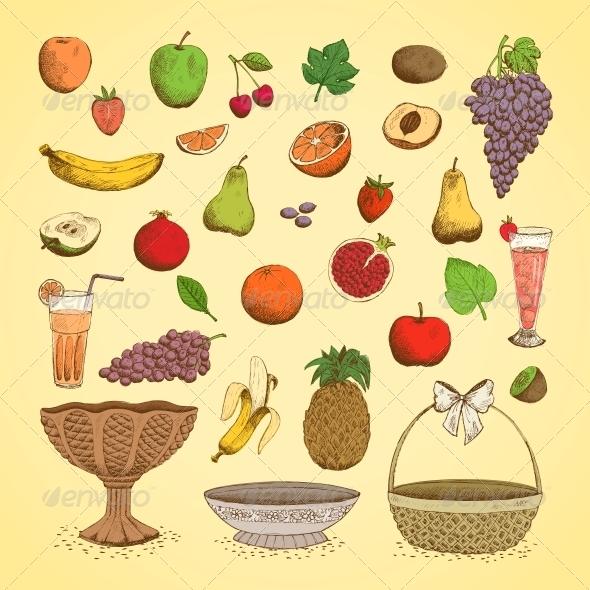 Set of Juicy Fresh Fruits - Food Objects