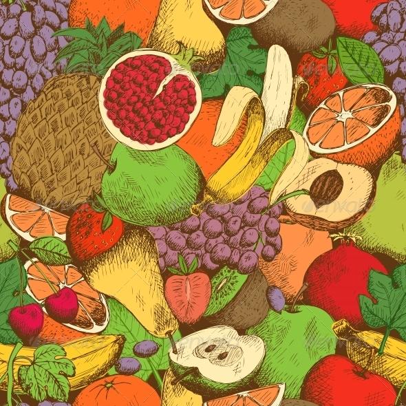 Bright Juicy Fresh Fruits Seamless Pattern - Backgrounds Decorative