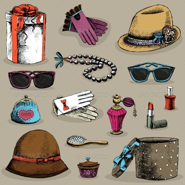 Women's Accessories Set - Web Elements Vectors