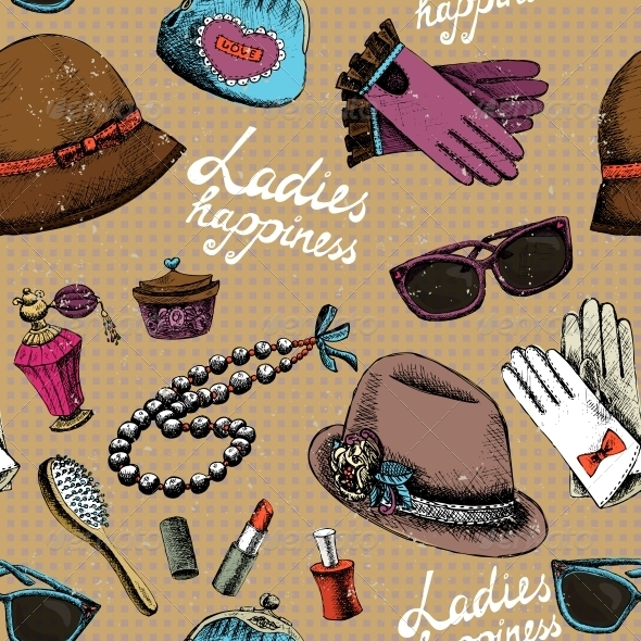 Women Pattern with Gloves Glasses Hat Perfume - Patterns Decorative