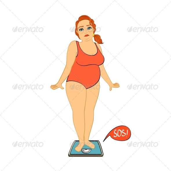 Woman on Weight Scales Unhappy - People Characters