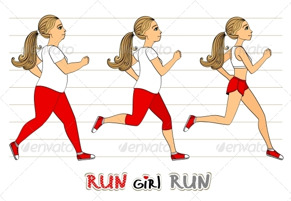 Running Woman Weight Loss Progress - Sports/Activity Conceptual