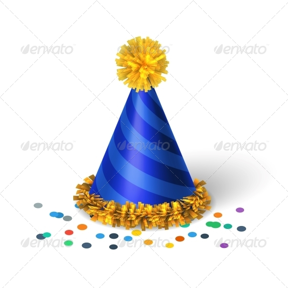 Blue Birthday Hat with Spirals - Birthdays Seasons/Holidays